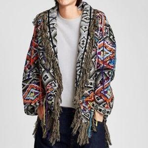 Zara Knit Fringe Blanket Cardigan Jacket Medium